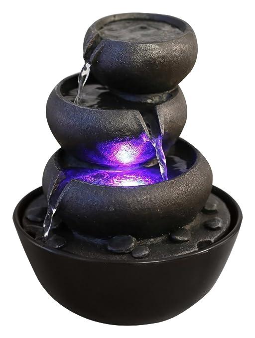 Zen'Light Jarre - Fuente de poliresina (18x 18x 22cm), Color Negro
