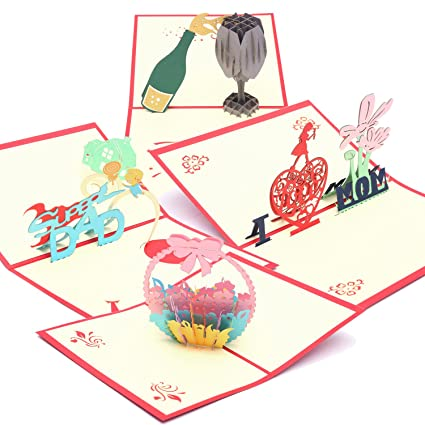 Amazon Handmade 3d Pop Up Greeting Cards Thank You Cards For