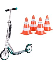 HUDORA Original BigWheel 205 Big Wheel Scooter Roller inkl. 4 Pylone weiß/Türkis one Size