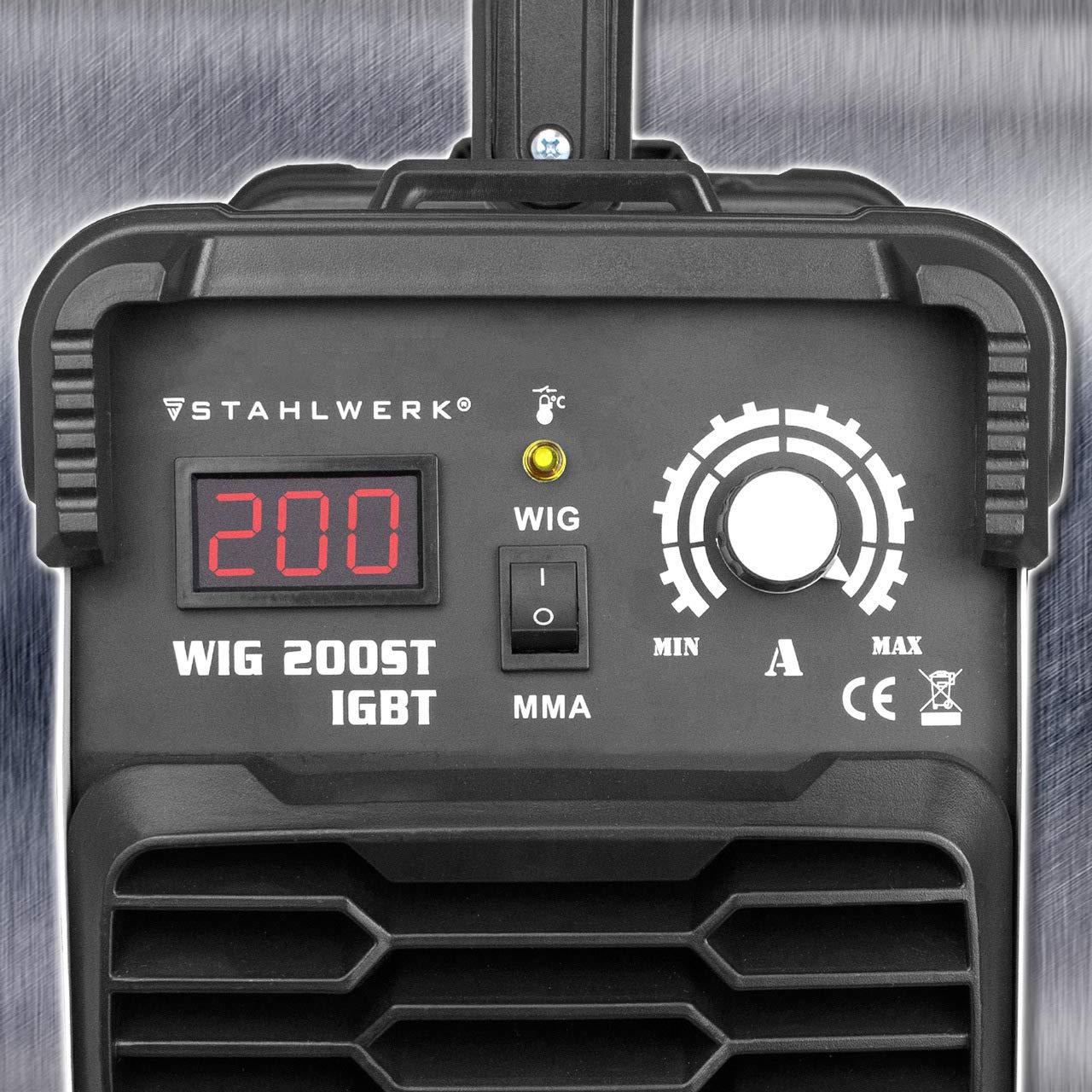 Acero de DC Wig 200 ST IGBT - Combinado Wig sudor dispositivo con 200 amperios y MMA S de mano, 5 años de garantía, soldadura de acero, acero inoxidable, ...