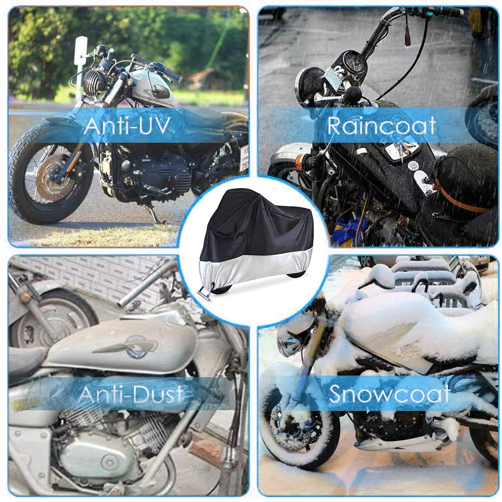 210D Waterproof Motorcycle Cover All Weather Outdoor Protection,Oxford Durable /& Tear Proof Fit for length 87 Motors Motorcycle Cover