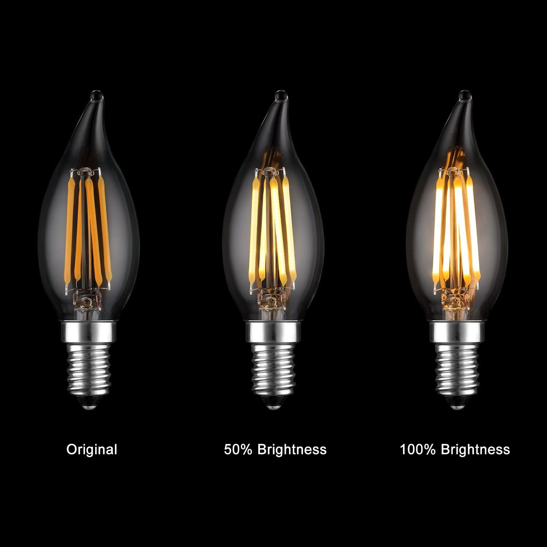Keymit C35T 4W Candelabra LED Bulbs Dimmable Light Bulb for Chandelier Lighting 2700K Warm White 6Pack