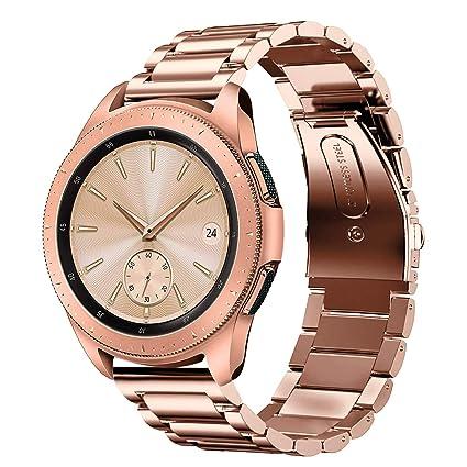 Shangpule Compatible Samsung Galaxy Watch Active (40mm) /Samsung Galaxy  Watch Bands (42mm), Stainless Steel Metal Replacement Strap Bracelet