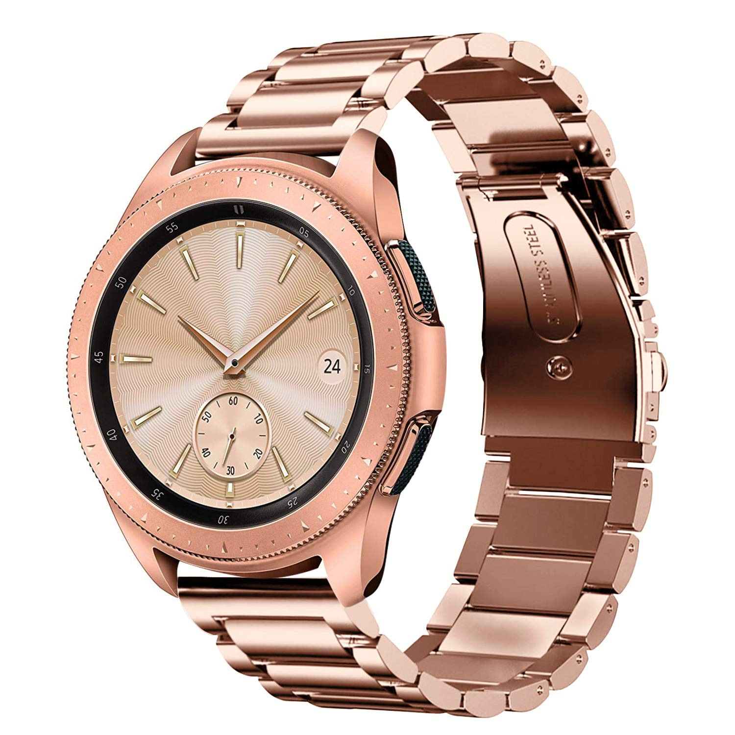 Shangpule Compatible Samsung Galaxy Watch Bands 42mm 46mm, Stainless Steel Metal Replacement Strap Bracelet Compatible Galaxy Watch SM-R810/SM-R800 Smartwatch (Rose Gold, 42mm)