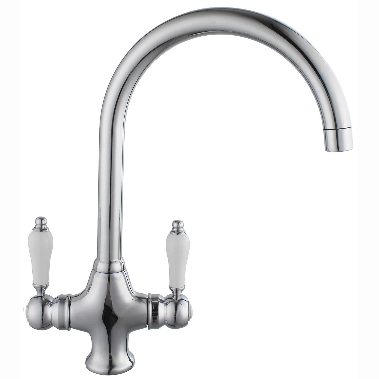 Luxury Chrome Swivel Spout Kitchen Tap Traditional Sink Monobloc ...