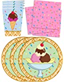 Ice Cream Shop Birthday Party Supplies Set Plates Napkins Cups Tableware Kit for 16 by Birthday Galore