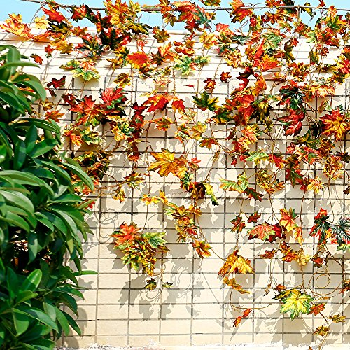 (YILIYAJIA 5PCS Autumn Maple Leaf Garlands Mix Artificial Silk Garland Plants Vine Fake Foliage Fall Wall Hanging Decoration)