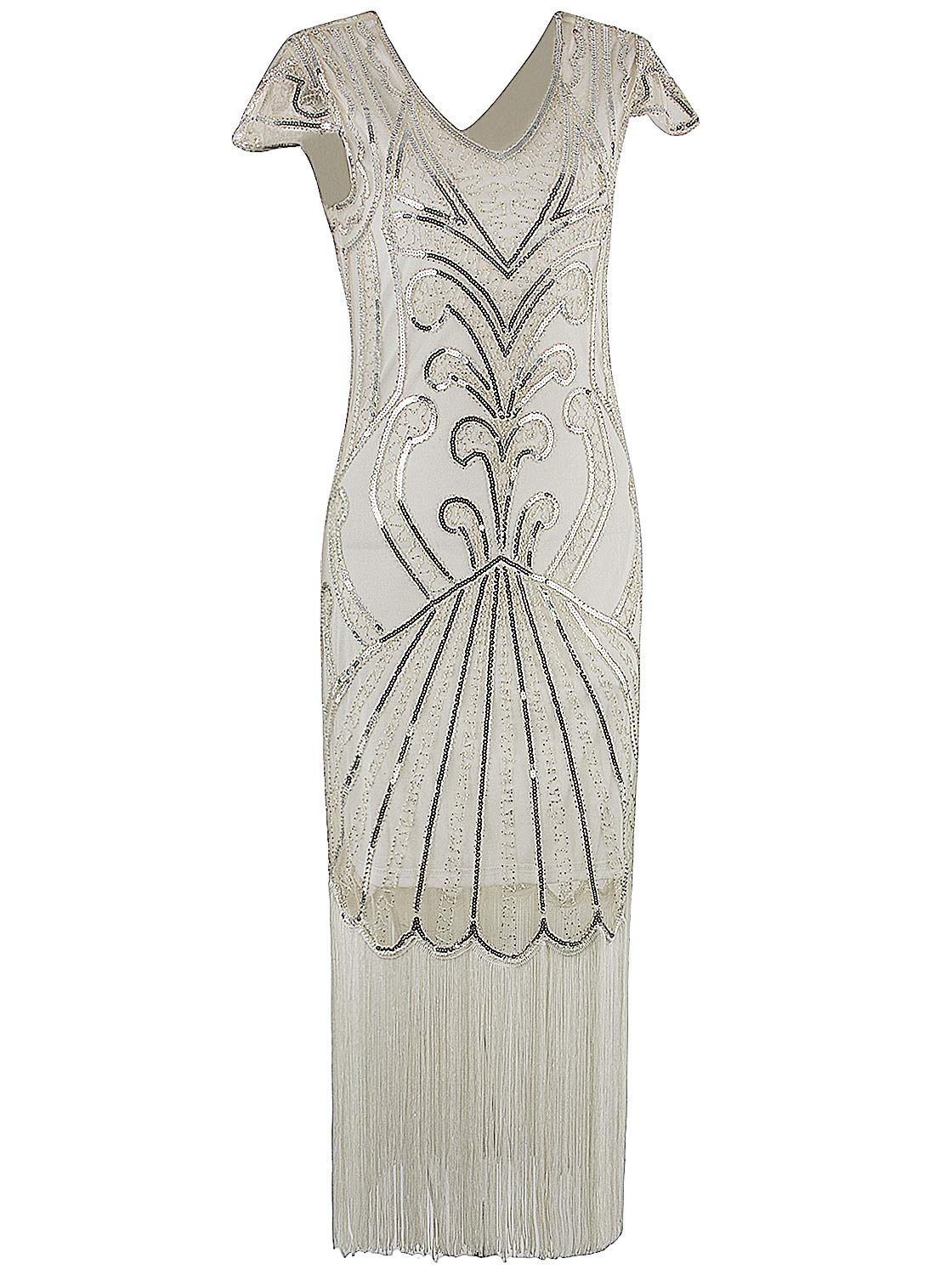 Vijiv Long Prom 1920s Gatsby Dresses With Sleeves Sequin Art Deco Flapper Dress,Beige Silver,XX-Large by VIJIV
