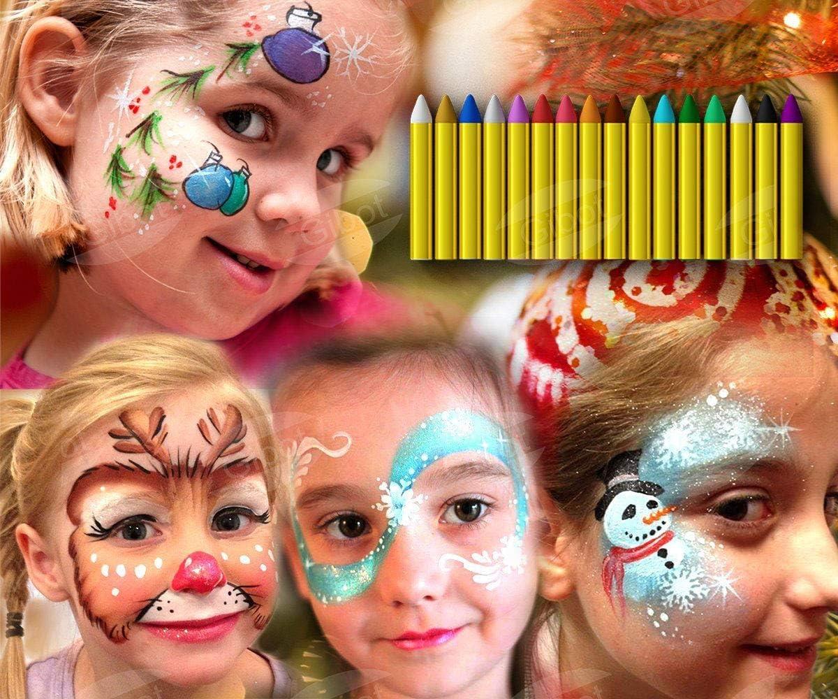 GiBot Pintura Facial y corporales, 16 Colores Pintura Corporal y Facial Body Paint, Maquillaje Carnival Set para niño, no tóxico, Easy on y Off: Amazon.es: Juguetes y juegos