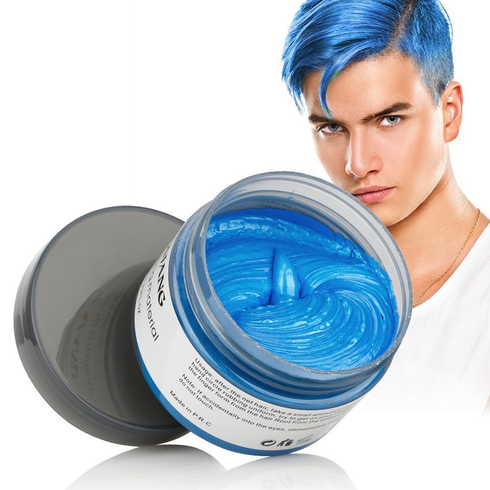 Mofajang Hair Wax Color Dye Styling Cream Mud, Natural Hairstyle Pomade, Washable Temporary (Blue) by Mofajang