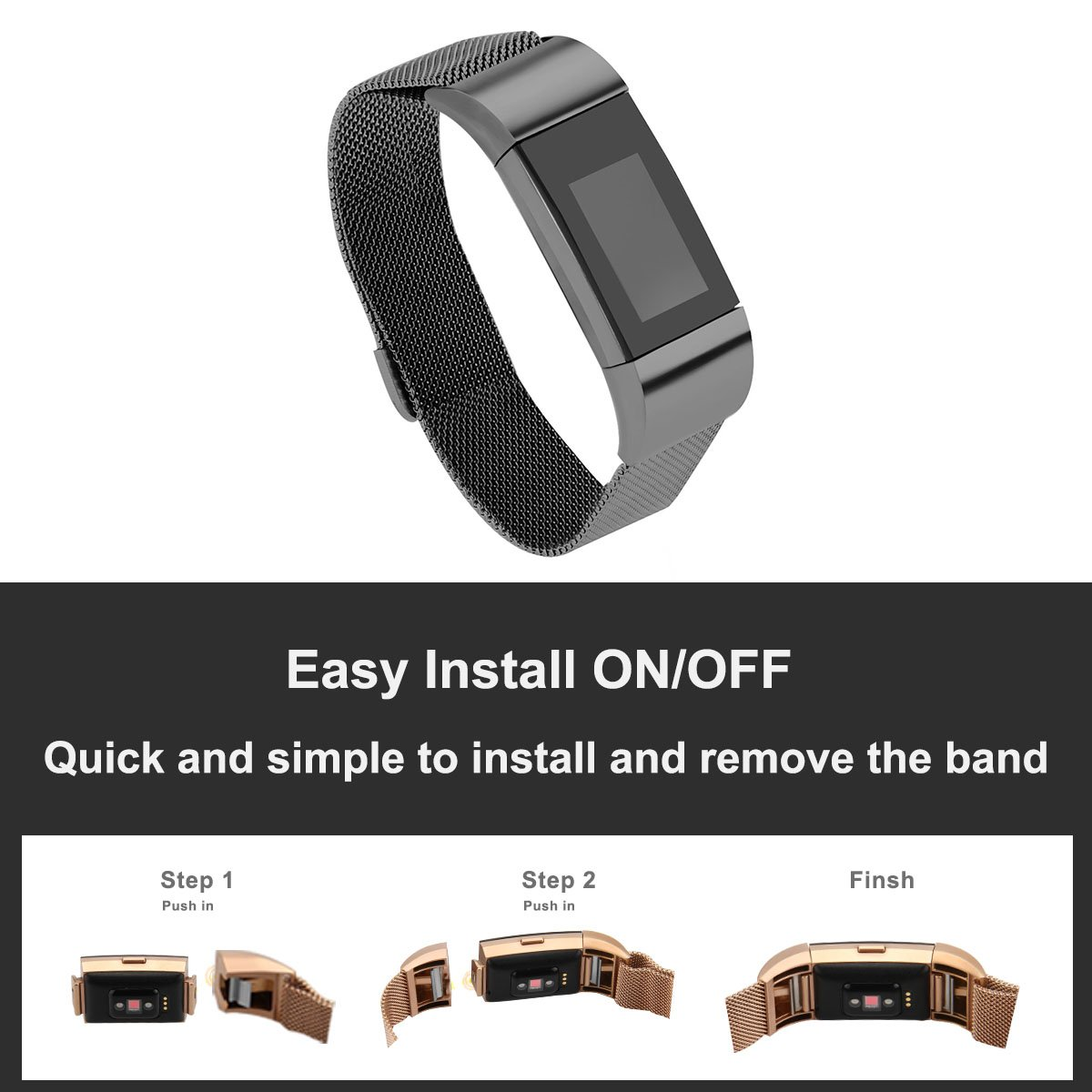 Autogo Black Stainless Steel Magnetic Closure Replacement for Charge 2,Fit Large Wrist 6.3-8.7 Fit Large Wrist 6.3-8.7