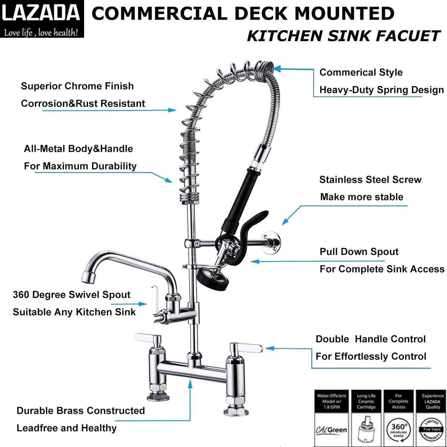 LZD Commercial Sink Faucet Deck Mount Pre-Rinse Spring Faucet Brass Construction 8''Center 28'' Height Polished Chrome Pull Down Kitchen Sink Faucet with Sprayer by Fonveth (Image #2)