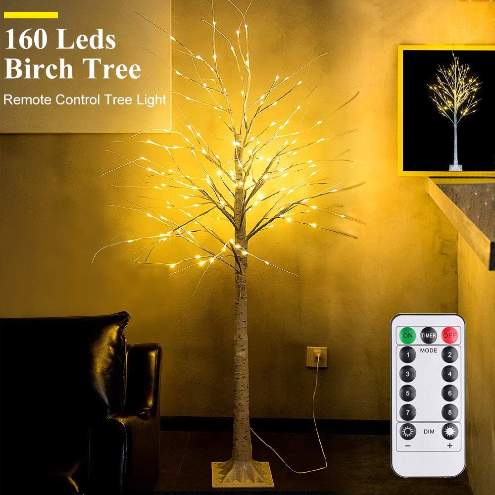 6Feet Birch Tree with Lights - 8 Modes Dimmable Fairy Lights with Remote 160 Leds Warm White Wedding Festival Party Christmas Decorations for Home, Plug and Base Included