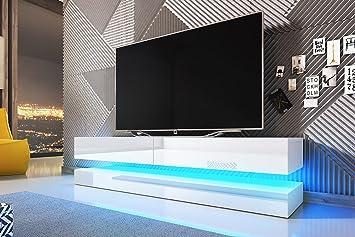 magasin d'usine 91068 6d940 Aviator - Tableau TV à Effet Flottant/Meuble TV Suspendu avec LED Bleu  Blanc Mat/Blanc Brillant 140x34x45 cm