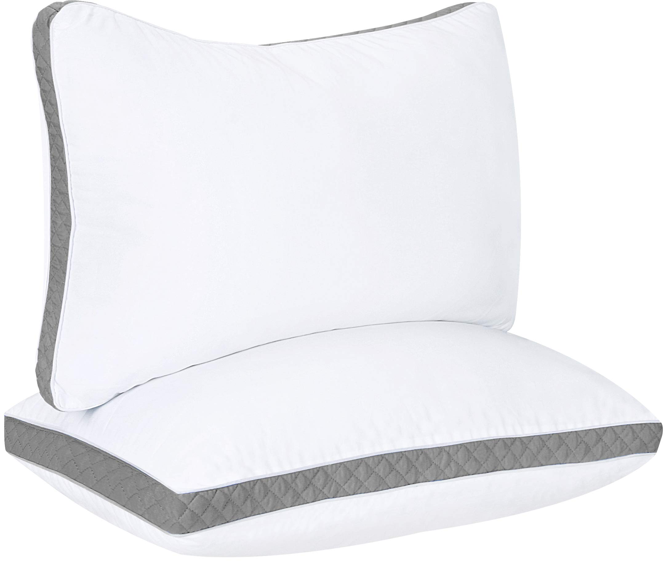 Utopia Bedding Gusseted Quilted Pillow (2-Pack) Premium Quality Bed Pillows - Side Back Sleepers - Grey Gusset - Queen - 18 x 26 Inches by Utopia Bedding