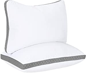 Utopia Bedding Gusseted Quilted Pillow (2-Pack) Premium Quality Bed Pillows - Side Back Sleepers - Grey Gusset - King - 18 x 36 Inches