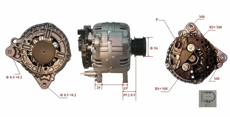 Nueva Alternadores 12V 140Amp M8 56mm de diámetro de polea RA02291 124525050 TG08017: Amazon.es: Coche y moto