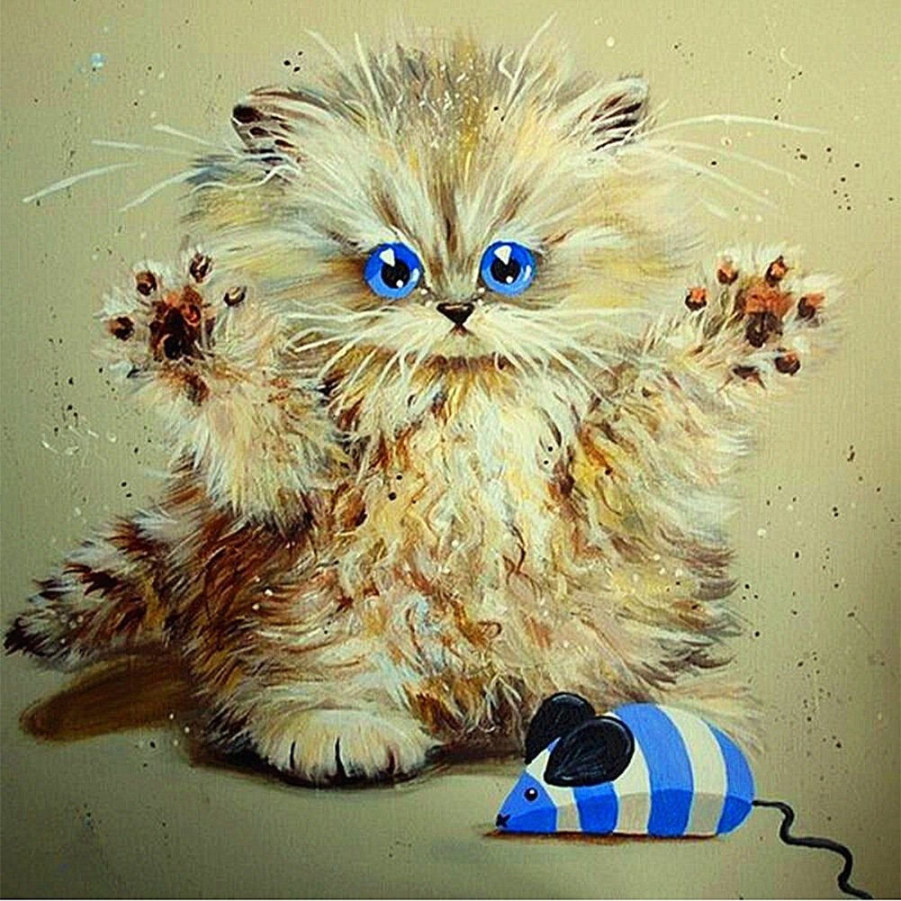 Smartcoco 5D DIY Diamond Painting Cute Kitty Cross Stitch 3D Diamond Mosaic Embroidery Wall Craft Decor 30X30CM