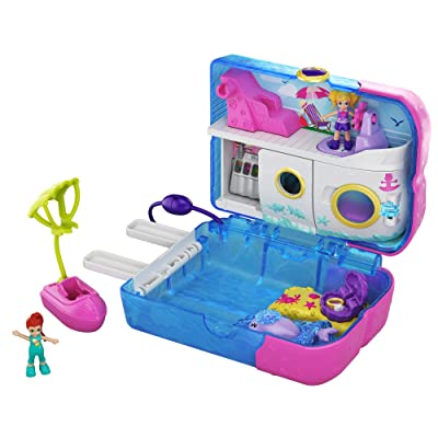 Polly Pocket Pocket World Sweet Sails Cruise Ship Compact, 2 Micro Dolls, Accessories, Multi: Toys & Games