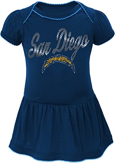 OuterStuff NFL Infant Girls Los Angeles Chargers 3 Pack Creeper Set