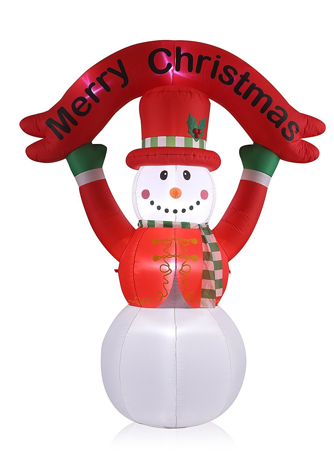 New 8 FT Inflatable Happy Flashing Snowman With 6pcs LED Lights Christmas X'mas Decoration
