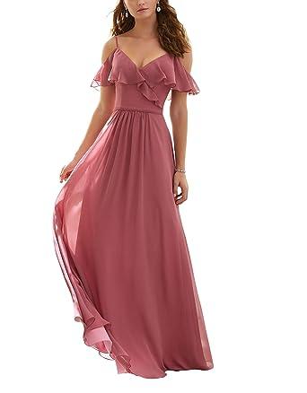 ff25327d849 CJMY Women s A-Line Cold Shoulder Chiffon Pleated Floor Length Long Bridesmaid  Dress Formal Prom