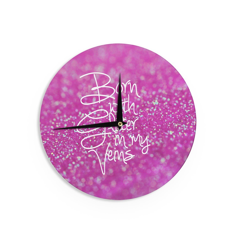 Kess InHouse Beth Engel Born with Glitter Pink Sparkle Wall Clock 12 Diameter