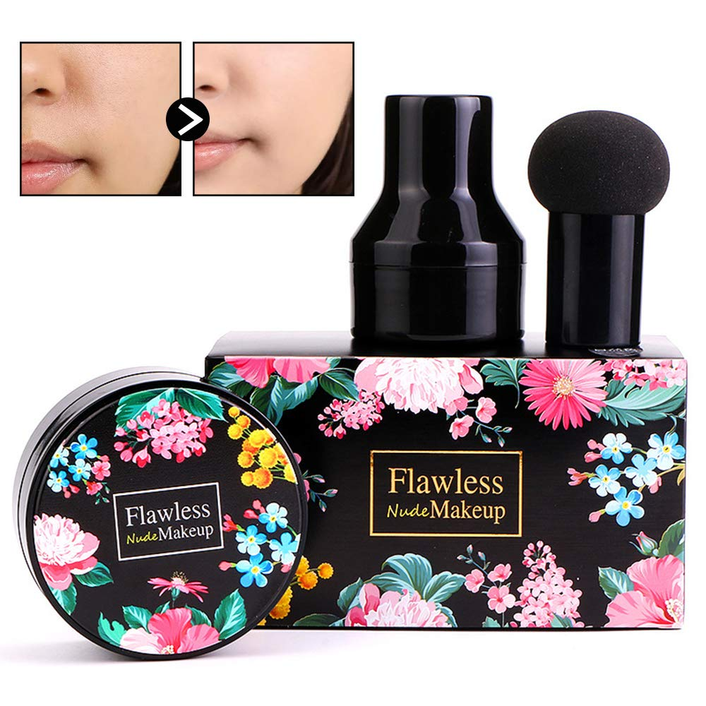 Mushroom Head Air Cushion BB Cream, Concealer Lasting Nude Makeup Moisturizing Brightening Pigment CC Liquid Foundation, Even Skin Tone Makeup Base Primer(Natural)