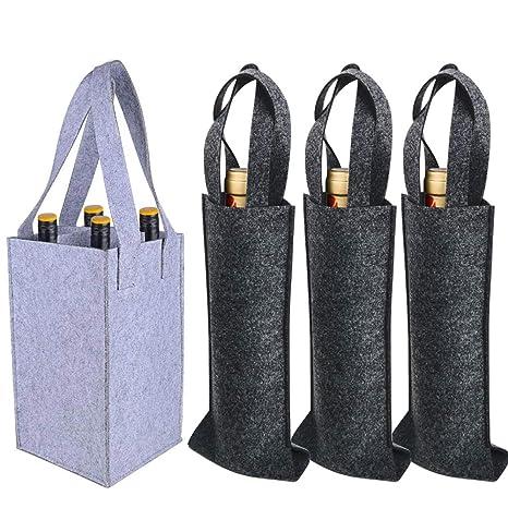 VINFUTUR 2pcs Bolsa Botellas Bolsa Fieltro para 4 Botellas Vino Funda para Regalo Navidad Fiesta Compra Picnic+3pcs Bolsa Botella Vino Regalo (Kit 4 ...