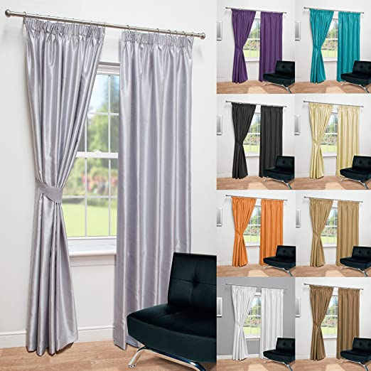 White Smoke Faux Silk Curtains Microfibre Lining Eyelet Free Tie backs 66 x 90
