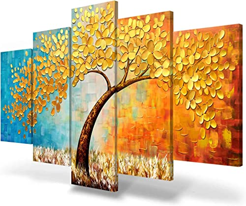 JIMHOMY Modern Floral Abstract Artwork 5 Piece Canvas Wall Art Gold Flowers and Tree Wall D cor Prints Painting