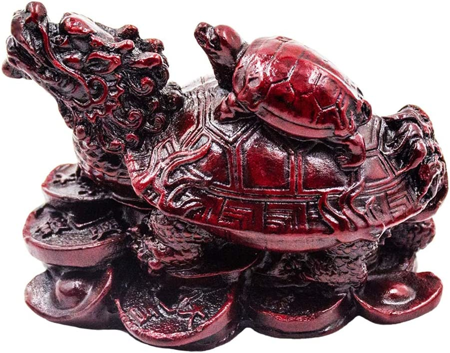 ADDUNE Feng Shui Red/Gold Dragon Turtle Statue Lucky Wealth Protection Chinese Dragon Tortoise Figurine Sitting on Coins and Ingots Paperweights Gift Home Decor (Red)