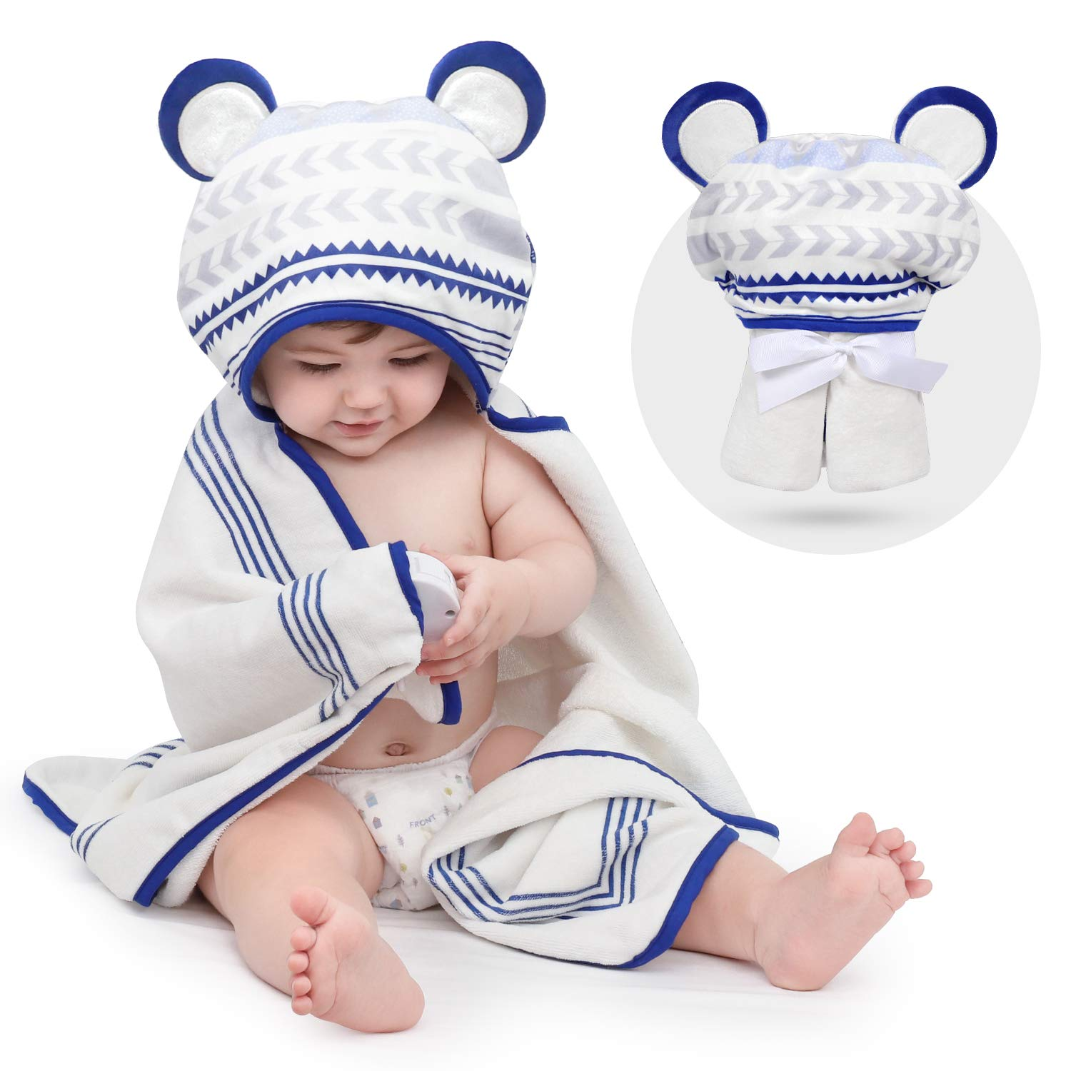 TILLYOU 100% Organic Cotton Baby Hooded Towel, Super Soft Absorbent Thick Bath Towel with Unique Design, Fluffy Plush Cozy, 33