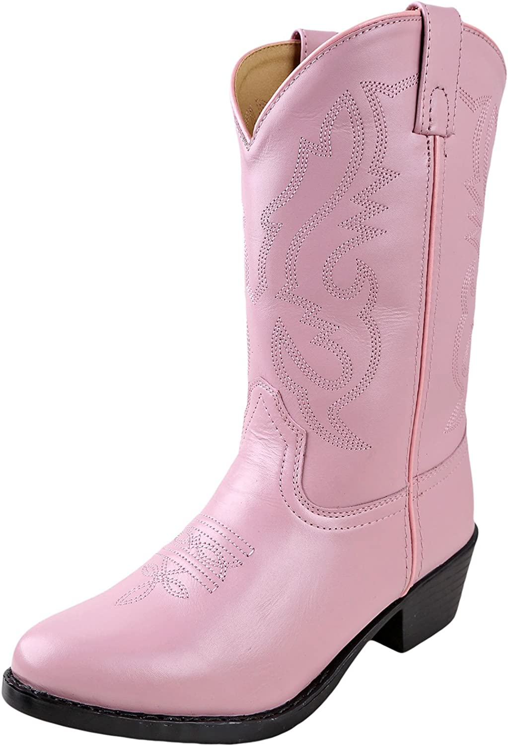 Smoky Mountain Youth Girls Jolene Pink Leather Cowboy Boots