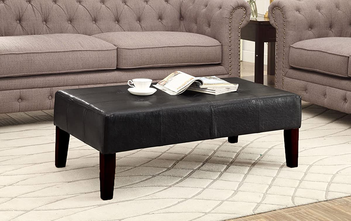 4D Concepts Large Faux Leather Coffee Table, Black