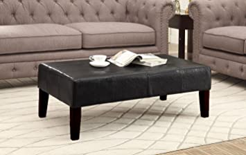 Amazon.com: 4D Concepts Large Faux Leather Coffee Table, Brown: Kitchen U0026  Dining