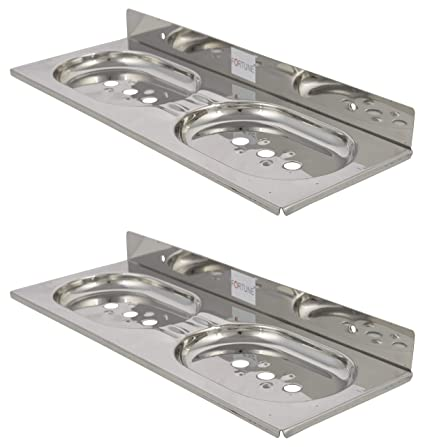 Fortune Double Round Soap Dish/Soap Case/Soap Stand  Material : Stainless Steel  Set of 2