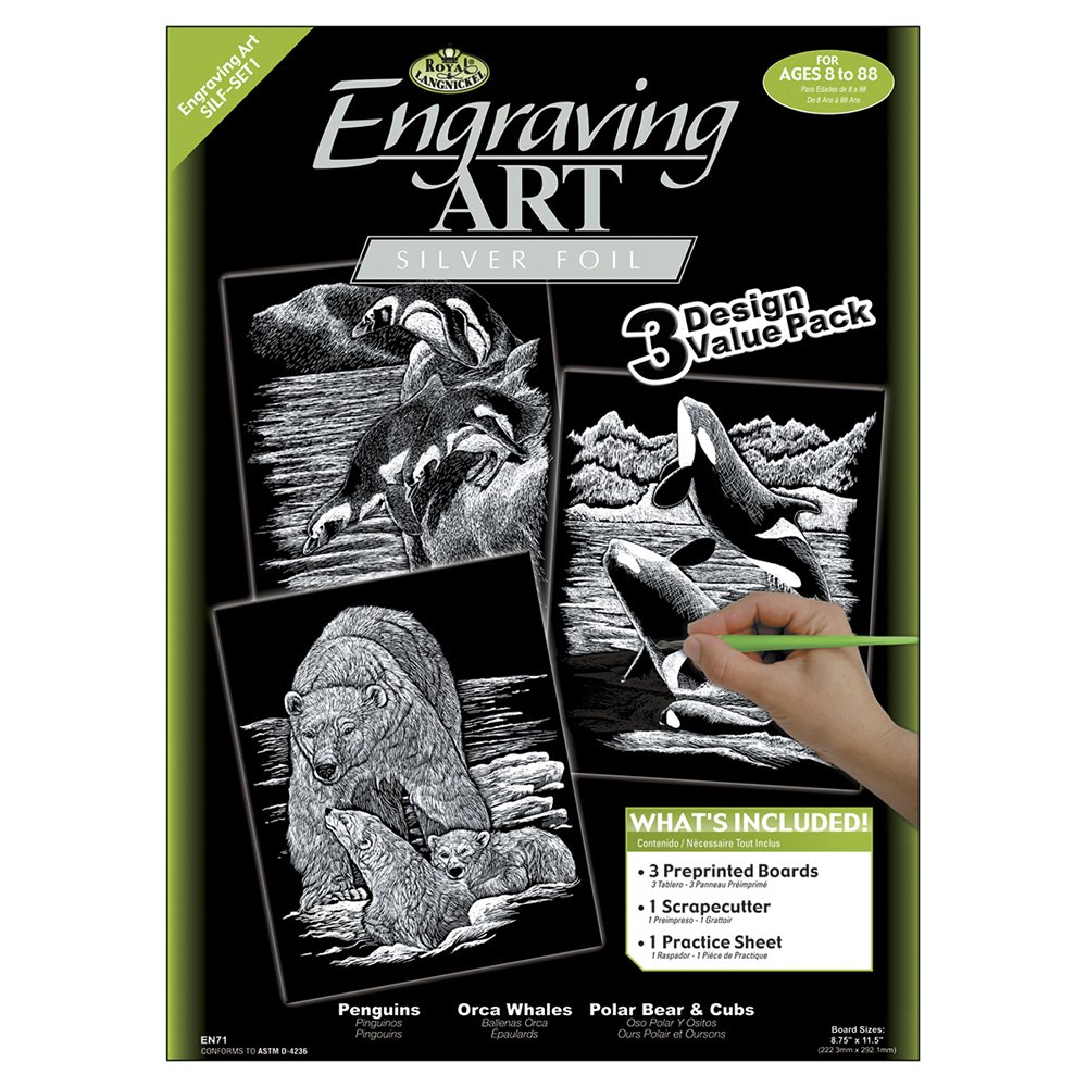Royal and Langnickel Engraving Art 3 Design Value Pack, Silver SILF-SET4