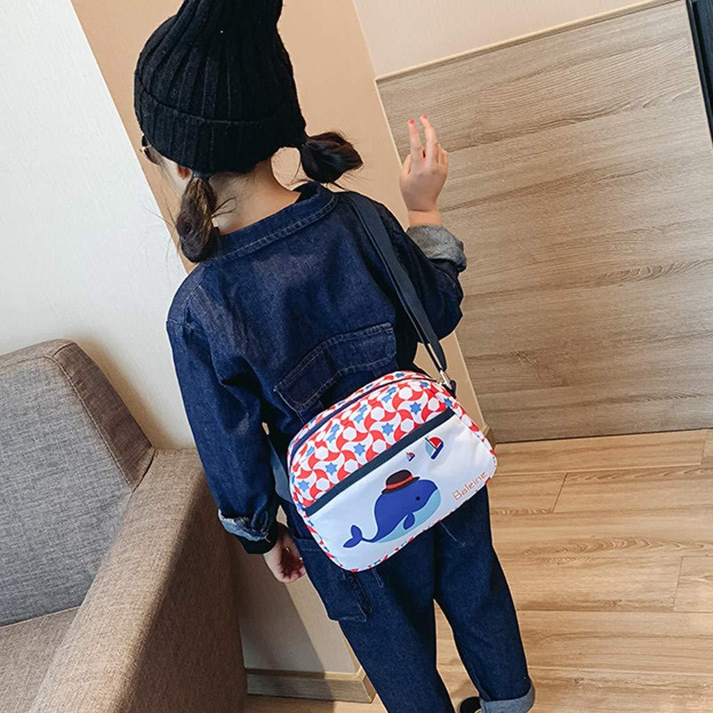 Fox Messenger Bag Parrot Gbell  Cute Cartoon Messenger Bag for Girls Oxford Kawaii Messenger Bag Mini Girls Animal Accessories Bag Dinosaur Whale Whale