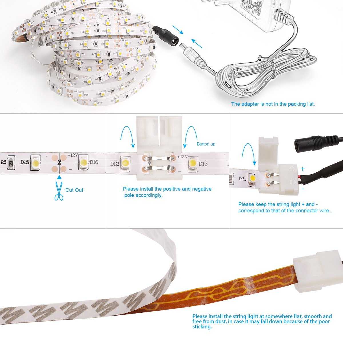 12 Volt Led Strip Light Wiring Diagram Free Picture Library Amazoncom Le 164ft 12v Flexible Lights 3000k Warm White