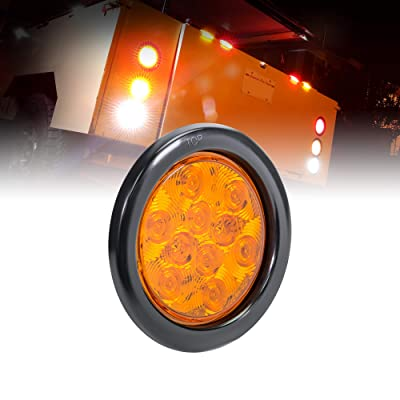 "4"" Amber Round LED Trailer Tail Light [DOT FMVSS 108] [SAE I6] [Grommet & Plug Included] [IP67 Waterproof] [Park & Turn Signal] Marine Trailer Lights for Boat Trailer RV Trucks: Automotive"
