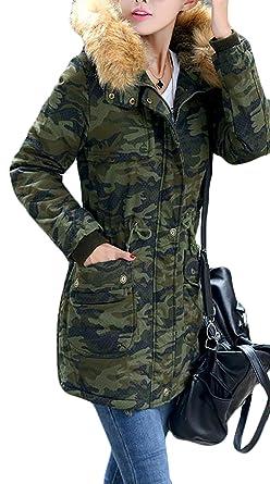 Amazon.com: Papijam Women's Winter Camo Faux Fur Hoodie Warm Parka ...