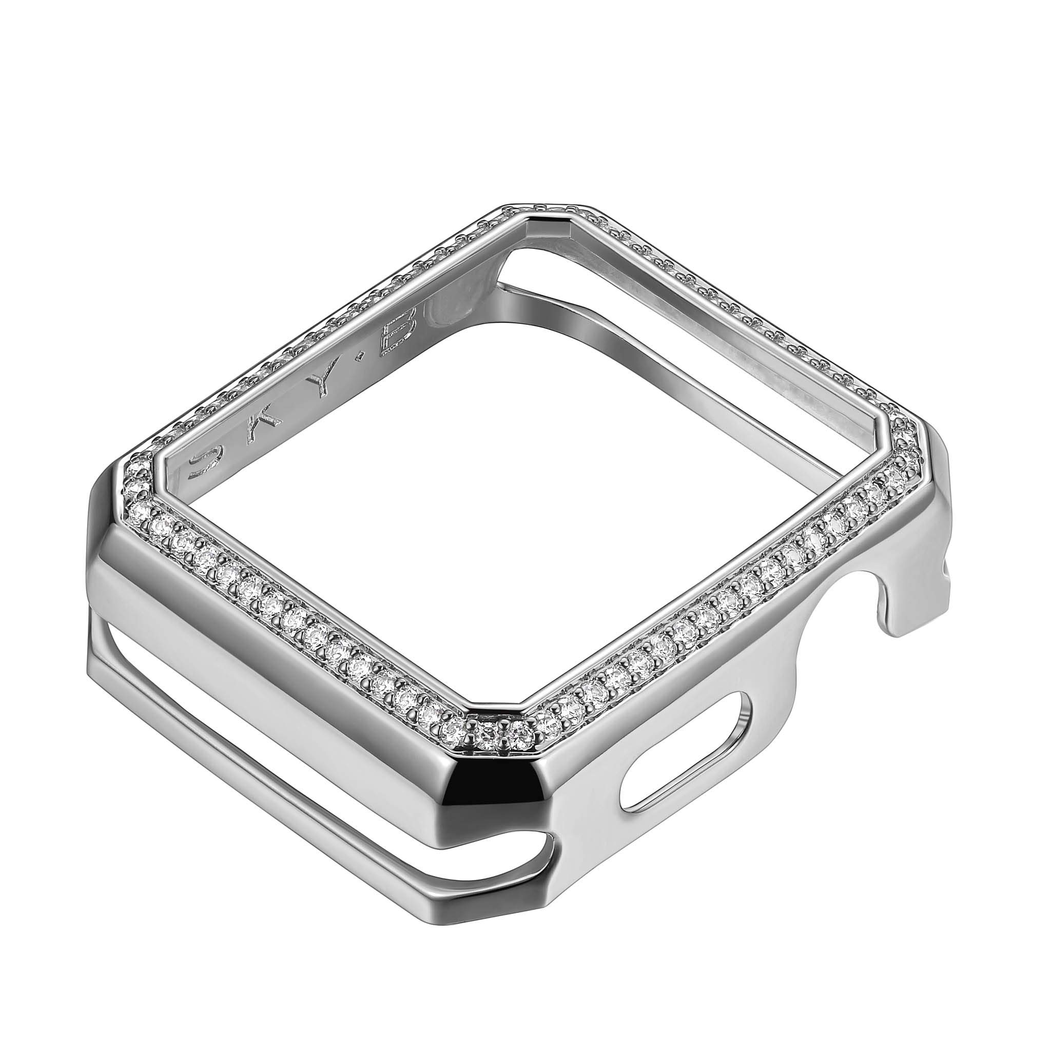 .925 Sterling Silver Rhodium Plated Bronze Deco Halo Jewelry-Style Apple Watch Case with Zirconia CZ Border - Large (Fits 42mm Series 1/2/3 iWatch) by SKYB