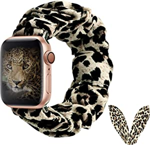 BMBEAR Compatible with Apple Watch Band Scrunchies 38/40mm with Bunny Ears Cloth Fabric Elastic Scrunchy Wristband Bracelet Women iWatch Series 5 4 3 2 1 Leopard