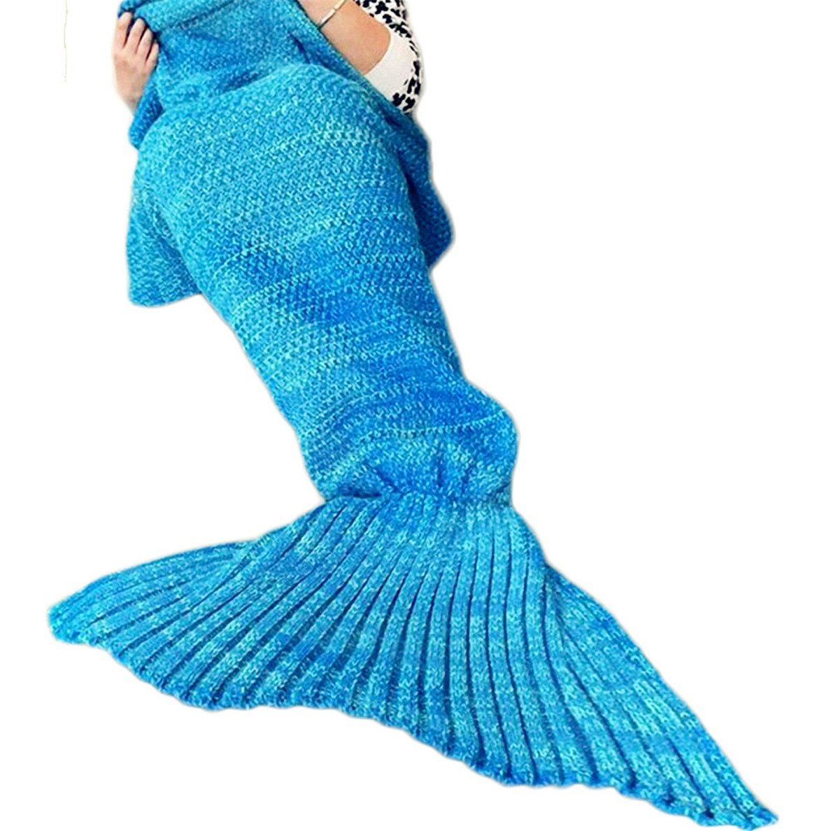 Mermaid Blanket Knitted Mermaid Sleeping Bag Warm Cozy Soft Mermaid Tail Blanket Pattern Women Fashion Crochet Sleeping Blanket Tail Blanket Mermaid Throw Blanket for Bed Sofa Couch Adults Blue