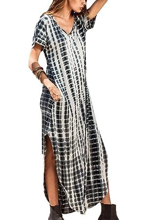 110164ac21320 yulinge Les Femmes Beach Robe À Manches Courtes Robes Bouffantes Changement  Fente Col V.  Amazon.fr  Vêtements et accessoires