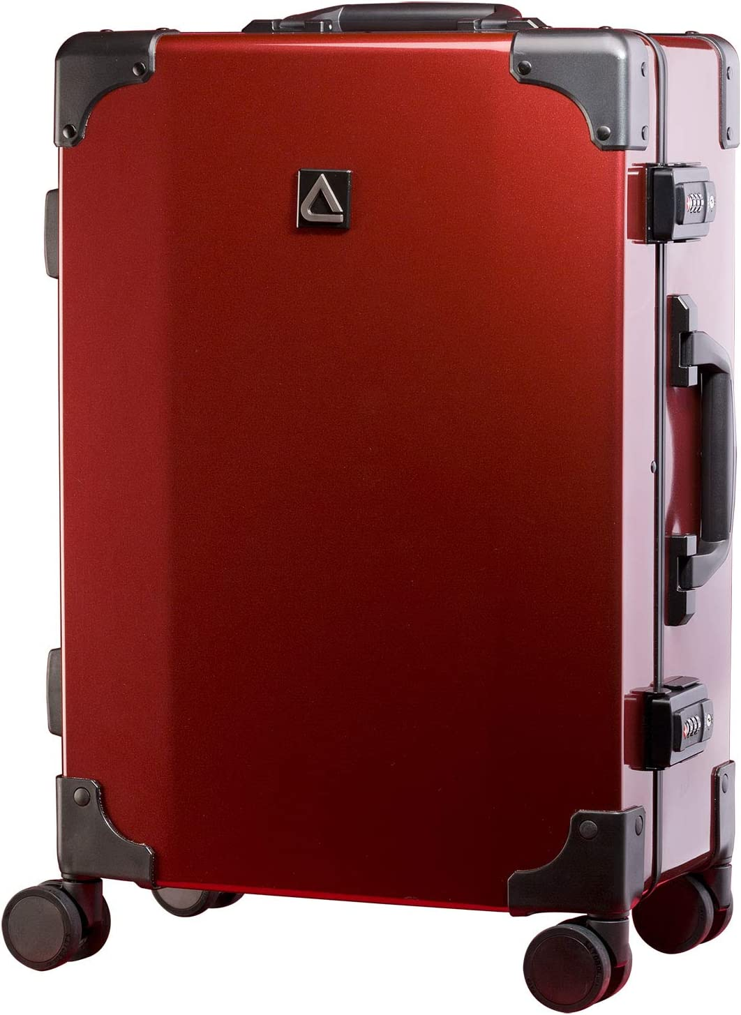 ABS+PC Luggage With 8-Rolling Spinner Wheels Andiamo Classico Suitcase with Built-in TSA Lock Red Ruby Zipperless 20 Inch Hardside Carry On Bag- Lightweight