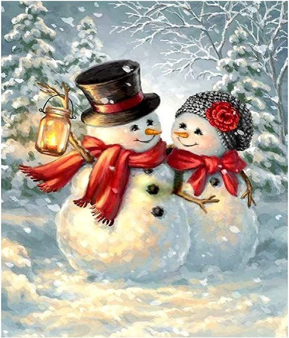 Amazon Com Acandyl Paint By Number Snowman Diy Painting Kits For Adults Kids Christmas Canvas Numbers Acrylic Arts Craft Decoration Home 16x20 In