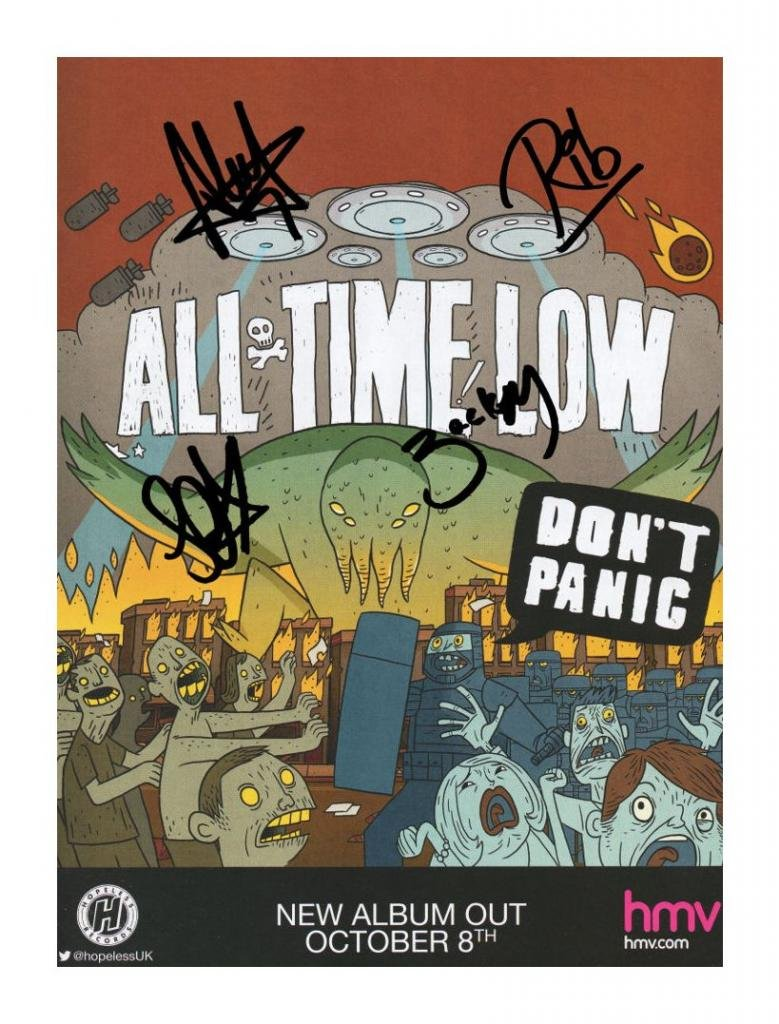 All Time Low Autographed Signed 21cm x 29.7cm A4 Photo Poster MBPhotos