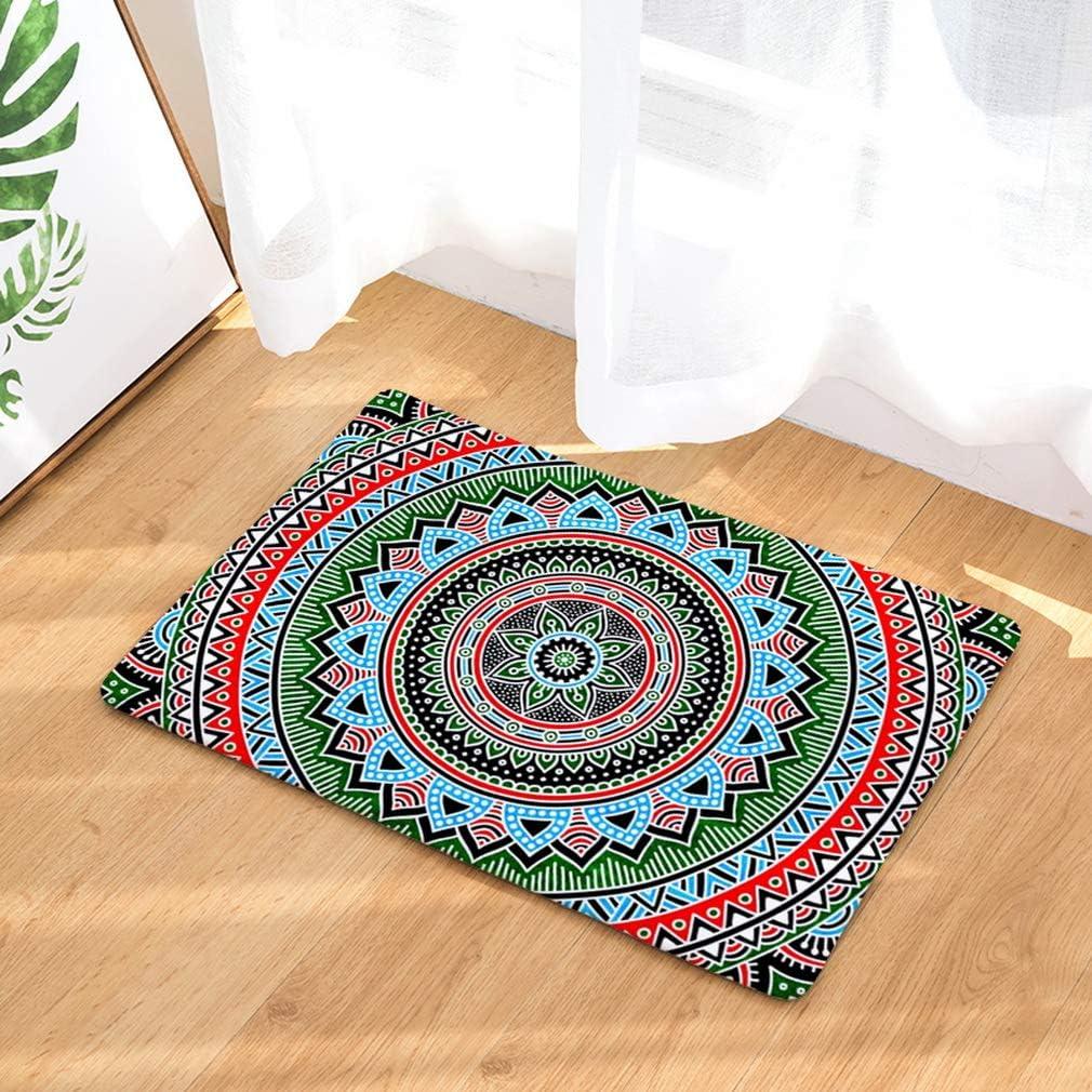 Mandala1 40 60cm Nunubee Designer Paillasson Mandala-3 Home Tapis de Sol antid/érapant ext/érieur dentr/ée Interieur Caoutchouc Fibre de Coco Geek Chat Chouette cerf Multicolore